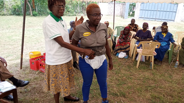 Learn social impact frameworks and use it for: Project team member shows usage of diapers to the elderly.